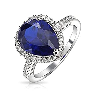 Christmas Gifts Vintage Style 925 Sterling Silver Teardrop Simulated Sapphire Engagement Ring 3ct