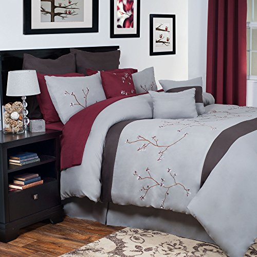 Lavish Home 14-Piece Grace Embroidered Comforter Set, King front-723387