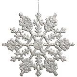 Vickerman Plastic Glitter Snowflake, 4-Inch, Silver, 24 Per Box