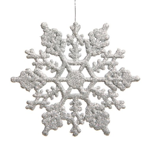 club pack of 24 silver splendor glitter snowflake christmas ornaments 4