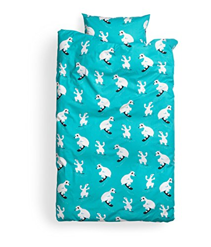Toddler Bedding, Twin Duvet Quilt Cover 2Pc Set Polar Bear Print 100% Cotton, Kids Bedding Turquoise front-972382