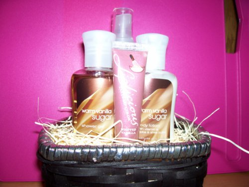 Bath and Body Works Signature Collection Warm Vanilla Sugar Body Lotion, Body Mist, Shower Gel, Liplicious in Almond Cocoa Lip Gloss Gift Set Basket