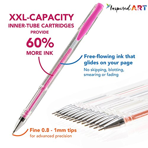 gel pen set for coloring 100 unique colors no duplicates superior quality free flowing xxl pack size 60 extra ink includes sparkly glitter pens