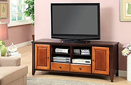 Seneca II collection transitional style 2 tone design dark oak and cherry finish wood TV entertainment center stand