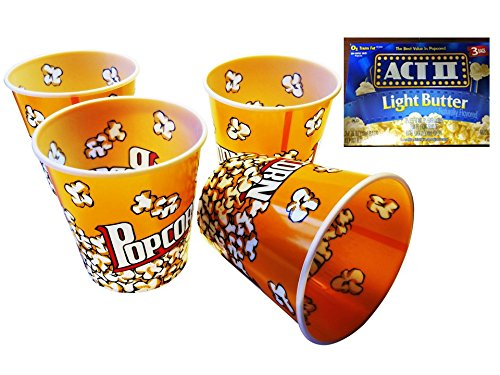 "5 Piece Best Value Reusable Sturdy Movie Theatre Large 12 Cup Popcorn Tubs Buckets, (7"" X 7"" Yellow and White) and 1 Box - 3 Popcorn Bags Act Ii Light Butter, 2 Item Bundle"