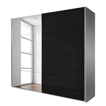 Rauch V8713.A010 Schwebeturenschrank Quadra, 2-turig, 225 x 210 x 62 cm, Korpus: Alu geburstet, Front: Glas schwarz Spiegel