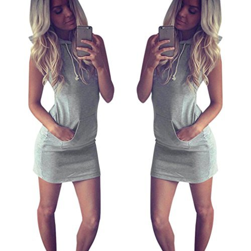 GBSELL Fashion Womens Summer Casual Sleeveless Hoody Dress (M)