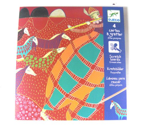 Djeco Scratch Cards - Crimson Elves - 4 Card Set - 1