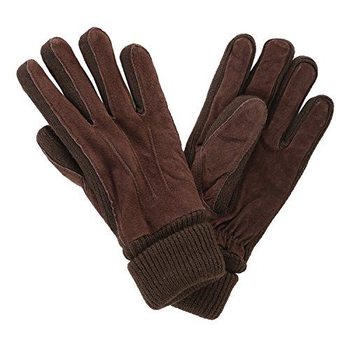 ブラウン F (ベストマート)BestMart 本革 レザー 手袋 メンズ 革 スウェード スエード カフス グローブ リアルピッグ 豚革 607905-010-401 -