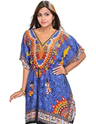 Exotic India Printed Short Kaftan With Dori At Waist