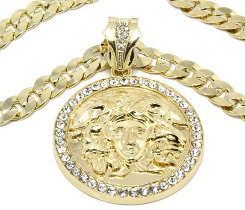 Mens Gold Clear Medallion Medusa Gold Greek 10Mm Cuban Curb Link Chain Pendant Necklace 30 Inch Xl