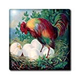 ct_109790_7 Florene Vintage - Vintage Hen n Beautiful Chickens Easter Card - Tiles - 8 Inch Glass Tile
