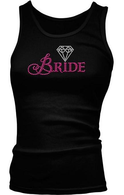 Neon Pink Bride With Diamond Ladies Junior Fit Tank Top