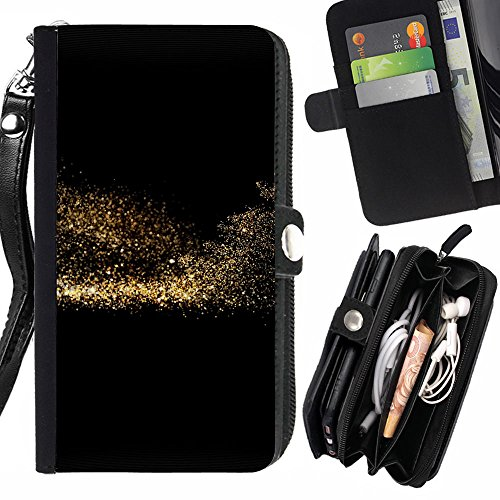 Peach Tech Portafoglio in pelle della Carta di Credito fessure PU Holster Cover in pelle case Huawei P8 Lite (Not for P8) / Gold Sparkle Beauty Dark Pattern
