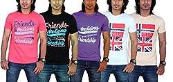 MaximBlue Men's Red Black Purple White Light Brown T-Shirt