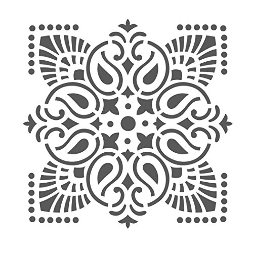 J BOUTIQUE STENCILS Damask Wall Stencil - Medium Size - Reusable Stencil for Home DIY decor FAUX MURAL V0012