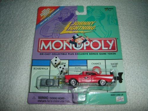 Johnny Lightning - Monopoly - Illinois Avenue - '57 (1957) Chevy Replica (Red) W/Exclusive Bonus Miniature Metal Game Token