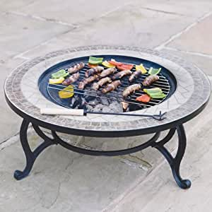 'Beacon Star' Round Outdoor Garden Mosaic Coffee Table & Fire Pit (76cm) - Patio Firepit / BBQ Grid / Spark Guard / Weather Cover- Pull Out Centre - Large Fire Bowl & Tiled Tabletop