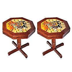 APKAMART Handcrafted Wooden Side Table cum Stool - 18 Inch - Set of 2 - Wooden Stool for Home Decor, Living Room Decor and Gifts
