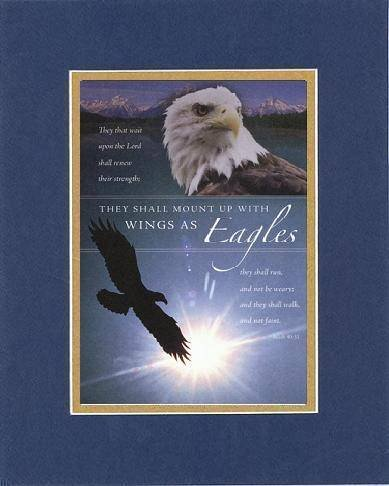 They Shall Mount Up With Wings As Eagles . . . 8 X 10 Inches Biblical/Religious Verses Set In Double Beveled Matting (Blue On Gold) - A Timeless And Priceless Poetry Keepsake Collection