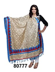 IndiWeaves Women Bhagalpuri/Tussar Silk Digital Print Cream+Blue Dupatta