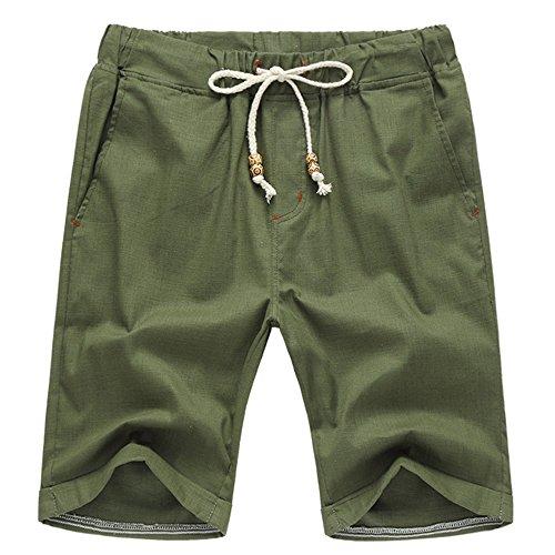 Manwan Walk Men's Linen Casual short 311 (Medium, Army Green) Medium Casual Shorts