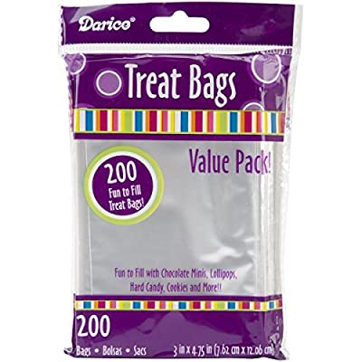 Darice 28-001V 3-Inch-by- 4-3/4-Inch Clear Treat Bag 200-Pieces by Darice