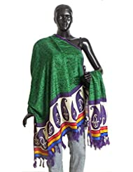DollsofIndia Tribal Design On Green Bhagalpuri Silk Chunni With Paisley Design And Purple Border - Silk Tussar...