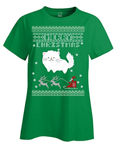 Persian Cats Ugly Christmas Sweater - Ladies T-shirt Irish_green 2XL