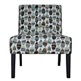 Handy Living 340C-PWL52-083 083 Armless Chair, Wavy Brown And Blue Leaf Design