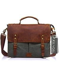 Messenge Bag, P.KU.VDSL 14 Inches Laptop Shoulder Bags Canvas And Genuine Leather Vintage Satchel Bag Handbag...