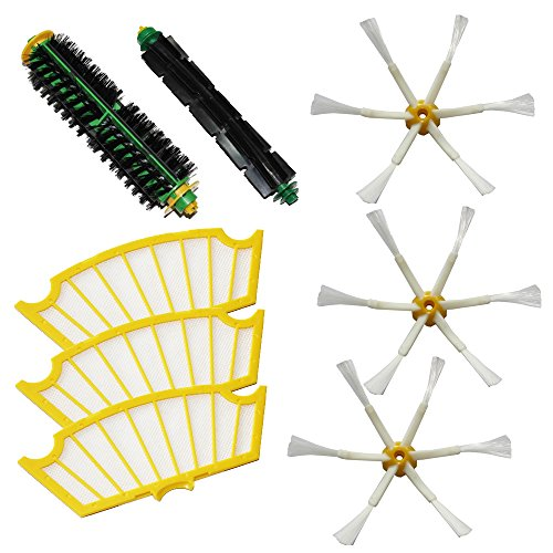 Shp-Zone Bristle Brush & Flexible Beater Brush & Side Brush 6-Armed & Filters Pack Kit For Irobot Roomba 500 Series Roomba 510, 530, 535, 536, 540, 550, 551, 552, 560, 564, 570, 580, 610 Vacuum Cleaning Robots All Green, Red, Black Cleaning Head front-536964