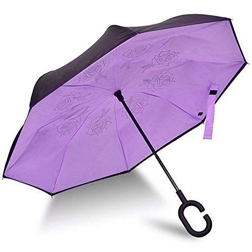 Ombrello con meccanismo di apertura riverso invertito utilissimo in caso di pioggia rovesciato, C Forma impugnatura dritta Rod doppio strato invertito Ombrello per auto all'aperto (Purple#1)