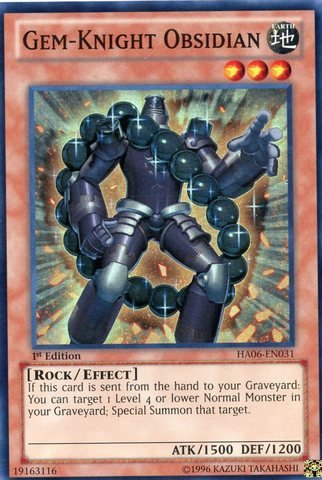 Yu-Gi-Oh! - Gem-Knight Obsidian (HA06-EN031) - Hidden Arsenal 6: Omega Xyz - 1st Edition - Super Rare (Gem Knights compare prices)