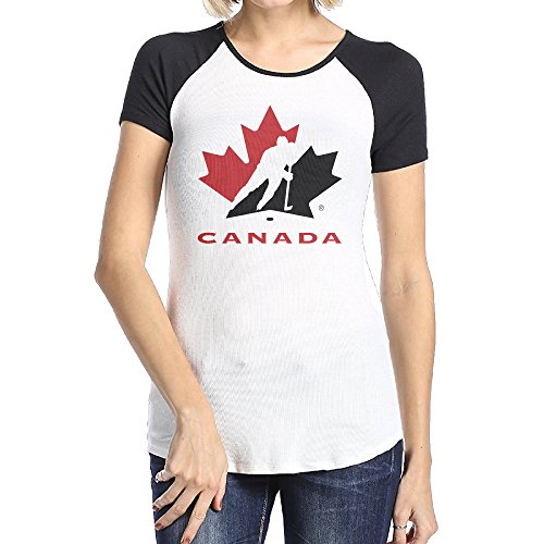 WOMEN 2016 Canada Hockey Logo Hockey Team Raglan Tee Short Sleeve (Team Canada Hockey Jersey 2014 compare prices)