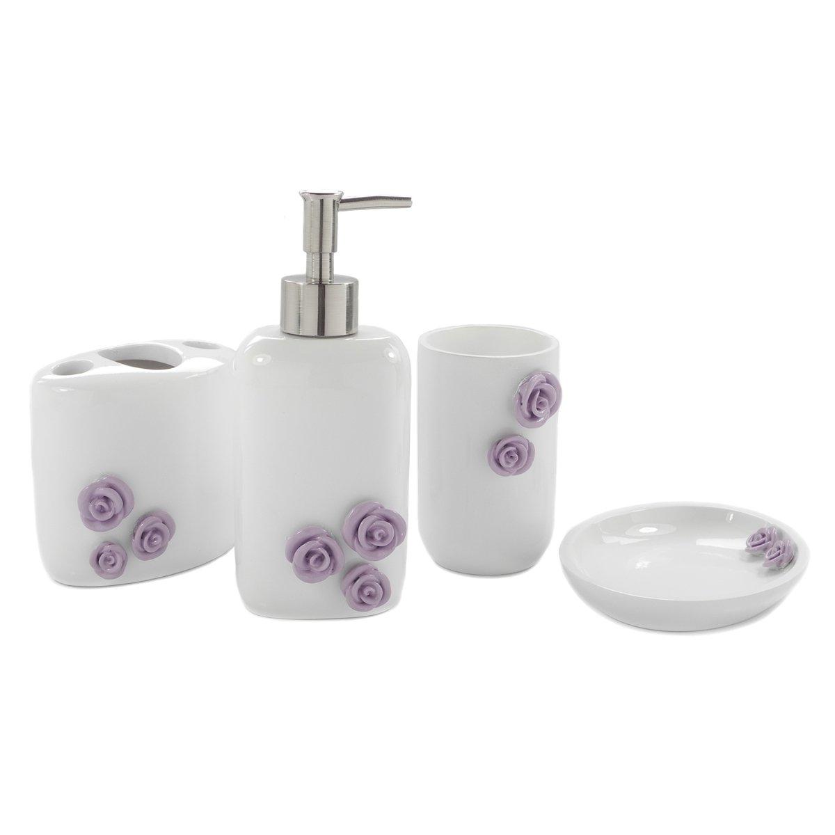 Dream bath purple rose bath ensemble 4 piece bathroom for Fancy bath accessories