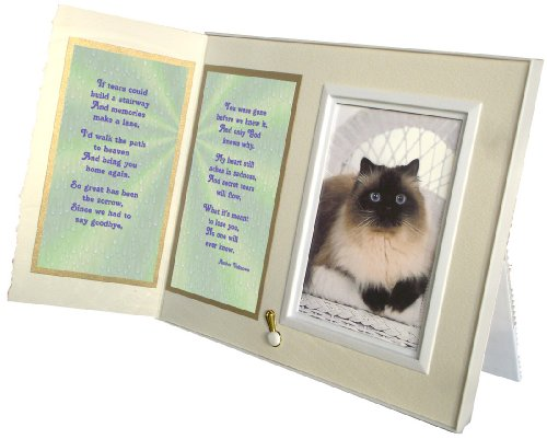 """If Tears Could Build a Stairway"" Poem Pet Loss Sympathy Picture Frame Gift and Memorial Keepsake, Warm White with Foil Accent"
