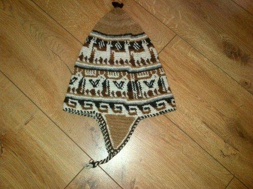 NOW HALF PRICE Small Woollen Chullo Hat Genuine Alpaca Hand Crocheted from Bolivia Fair Trade