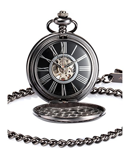 KS Steampunk Mechanical Black Smooth Case Roman Numbers Pocket Watch with Chain KSP035 (Roman Number Dial Watch compare prices)