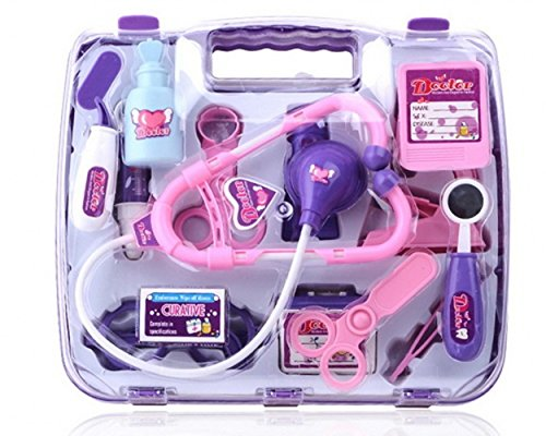 EVINIS-17-Pcs-Deluxe-Puzzle-Simulation-Medicine-Box-Doctor-Toys-Set-Kids-Pretend-Play-Doctor-Set-Doctor-Nurse-Medical-Kit-Play-set-for-Kids-Child-Care-Box-Doctor-Tools-Toys-Purple