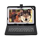 【IVSO】10インチ タブレット兼用キーボード 東芝 Toshiba Android (TM) タブレット A205SB SoftBank /FUJITSU ARROWS Tab タブレットQ582/G/富士通 FUJITSU ARROWS Tab M555/KA4/ /huawei mediapad t2 10.0 pro/Qua tab 02 HWT31 10.1/ NEC LAVIE Tab E TE510/BAL PC-TE510BAL/ Asus ZenPad 3S 10 Z500M等10インチのタブレットに対応 microUSB 端子 接続のキーボード PUレザーケース内蔵型 薄くて軽い スタンド付き(ブラック)