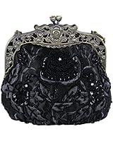Women Lady Vintage Beaded Satin Kiss Lock Wedding Party Clutch Purse Cocktail Evening Shoulder Handbag