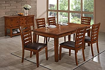 The Room Style Luxurious Modern 5pc Solid Wood Dining Room Furniture Set, Table and Chairs (1 Table with 4 Chairs)