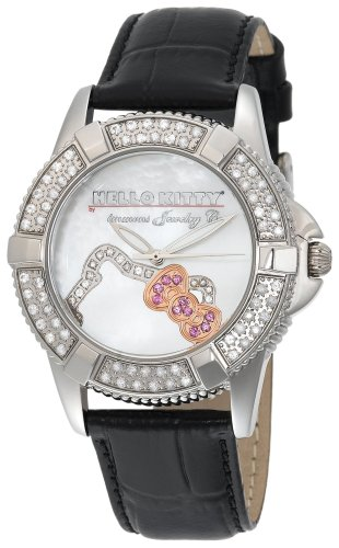 Hello Kitty Women's HWL1049WSAN0 Kimora Lee Simmons Silhouette Diamond Black Leather Watch