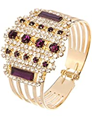 Silver Shoppee Elegant Me Crystal And Cubic Zirconia Studded 18K Yellow Gold Plated Alloy Bracelet