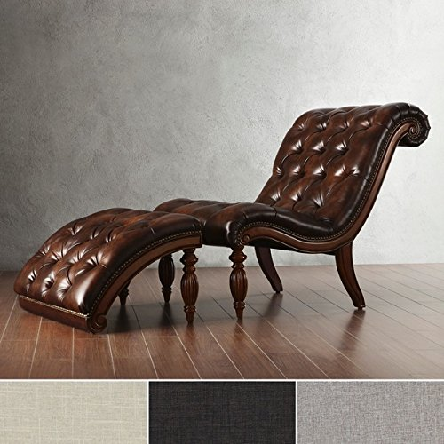 Brown Leather Chaise Lounge Chair With Ottoman Victorian