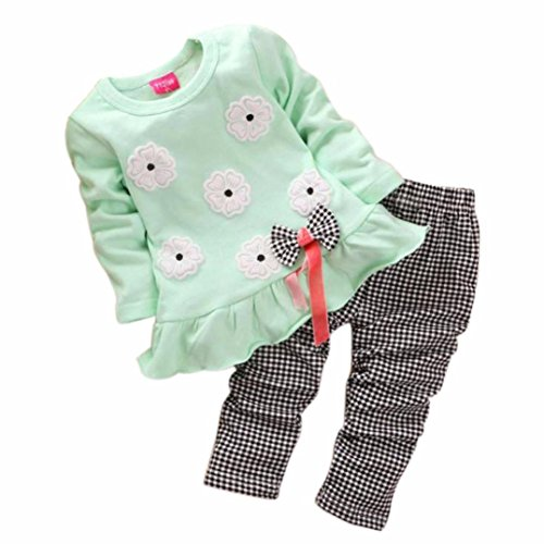 internet-kids-girls-long-sleeve-flower-bow-shirt-plaid-pant-set-clothing-1-4y-3-4-years-old-green
