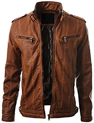 IDARBI Mens Leather Look Motorcycle Rider Bomber Jacket