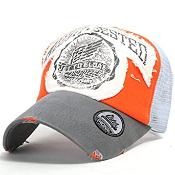 ililily Distressed Vintage Bill Wings Character Patch Pre-curved Cotton Baseball Mesh Cap with Adjustable Strap Snapback Trucker Hat - 005-4