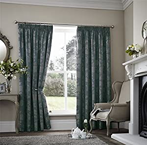 Floral Two Tone Teal 66x90 Thermal Block Out Pencil Pleat Lined Curtain Drapes by Curtains